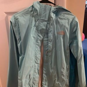 North face teal rain jacket